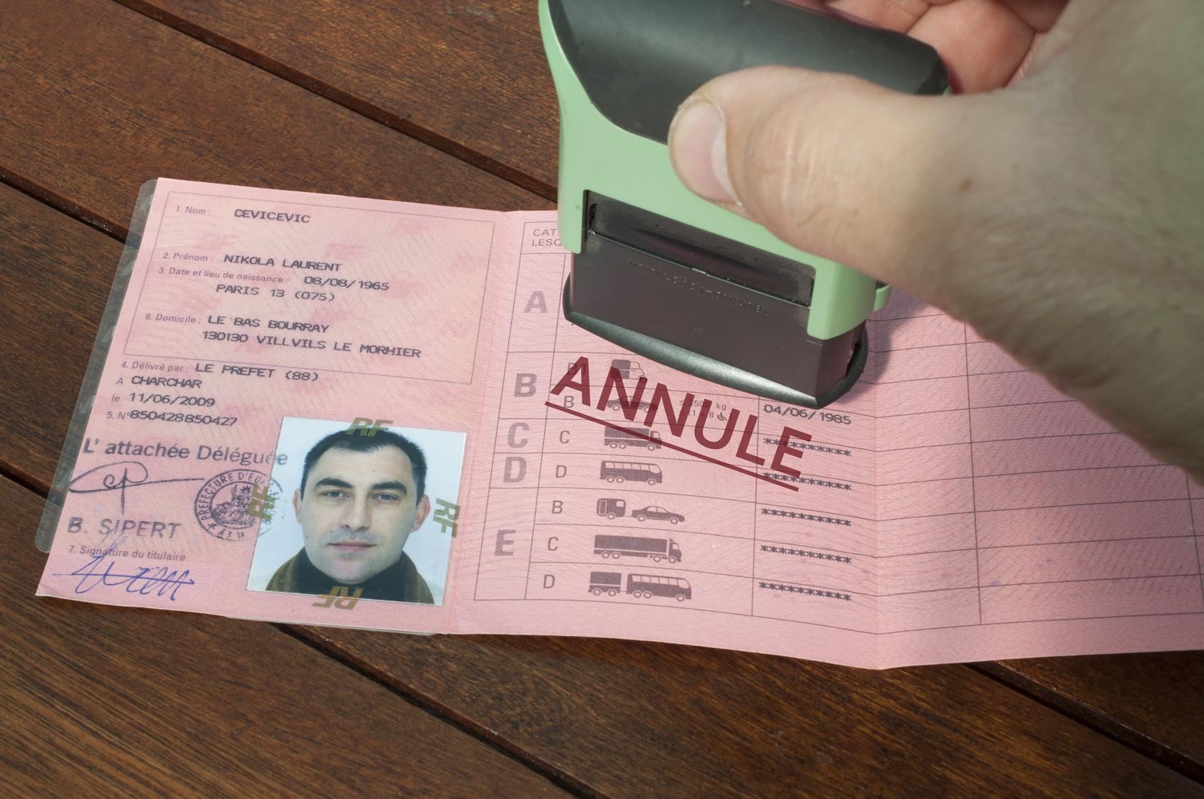 Annulation permis conduire